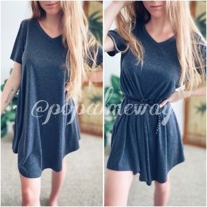 Gray A-Line Jersey Dress With Pockets